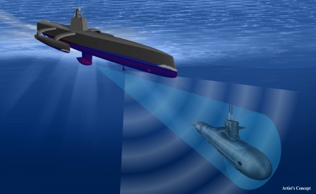 Artist's depiction of the trimaran ACTUV concept. Colors may vary.