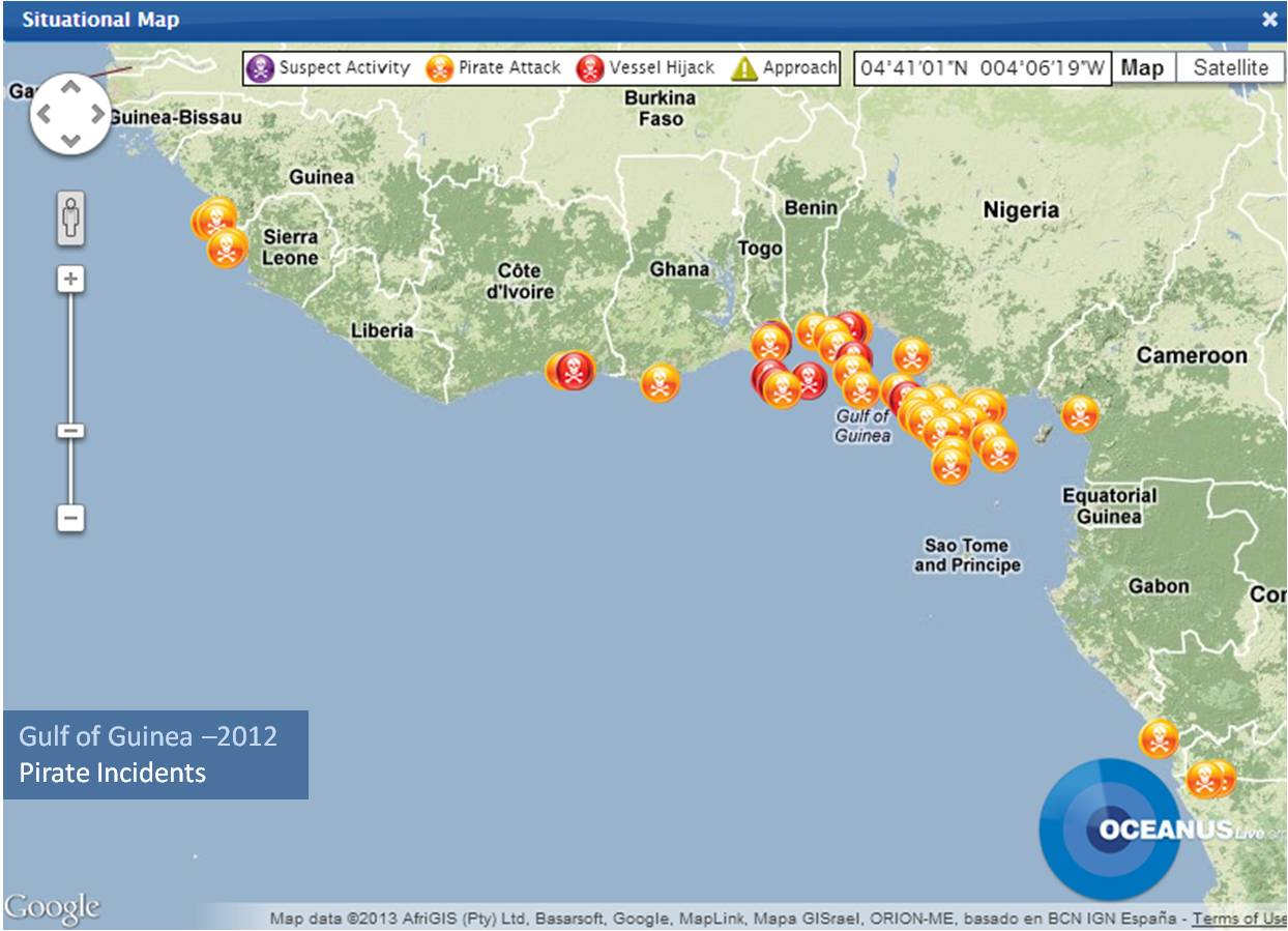 Pirate incidents in the Gulf of Guinea (courtesy OceansUSLIVE)