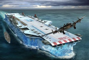 "Churchill asks, ""Why make a battleship when you can build a carrier out of a glacier?"""