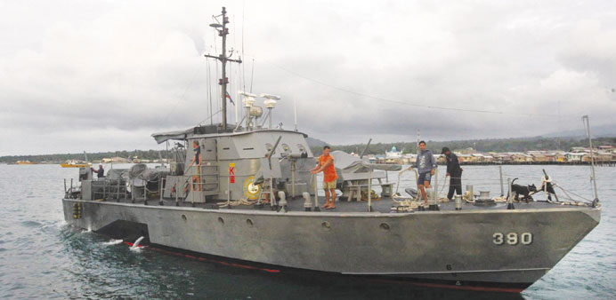A Philippines Navy patrol off the port of Sulu.
