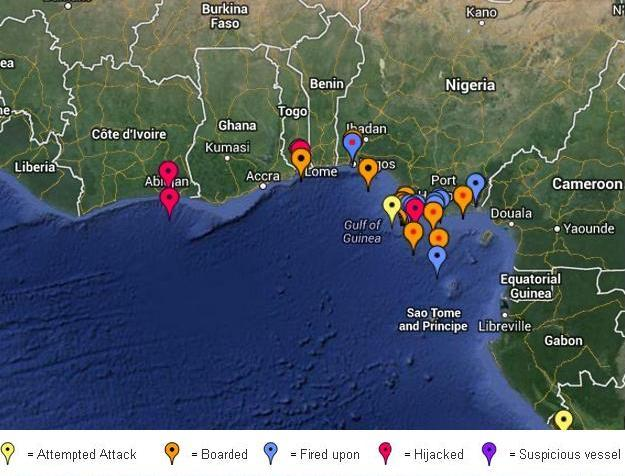 2013 Pirate Attacks in the Gulf of Guinea (IMB)