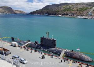 The HMCS Corner Brook at sea, sort of