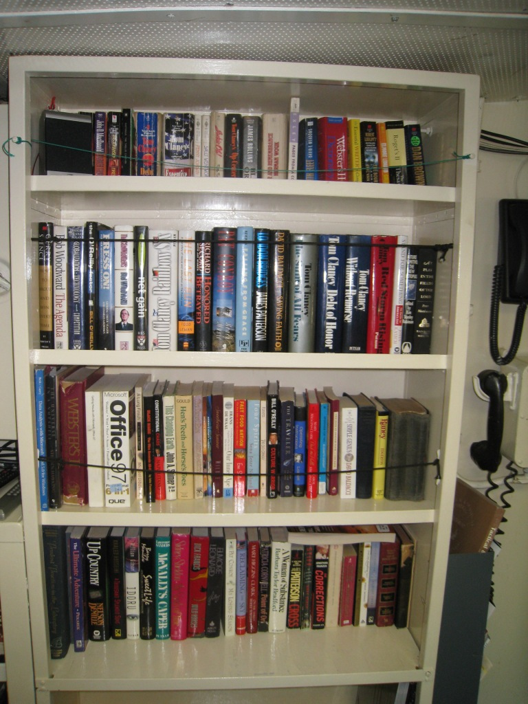 Wardroom bookshelf (photo by author)