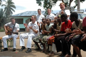 U.S. Navy musicians executing The Swivel in Tanzania.