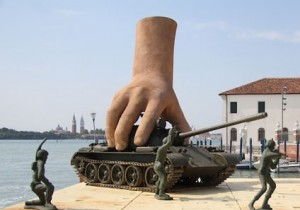An artist's conception of the Giant Hand in action.