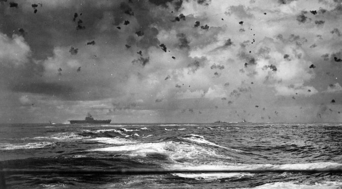 USS Enterprise and other ships of her screen in action during the Battle of Santa Cruz, 26 October 1942 (Wikimedia Commons)