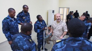A Spanish instructor from ESPS INFANTA ELENA provides classroom training to Equatoguinean naval personnel in the pre-sail phase of OBANGAME EXPRESS 2014. (Photo: Alexander Drechsel/Adrian Kriesch)