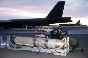 Airmen prepare to load a Mark 60 CAPTOR (encapsulated torpedo) anti-submarine mine onto a B-52G Stratofortress. US Navy