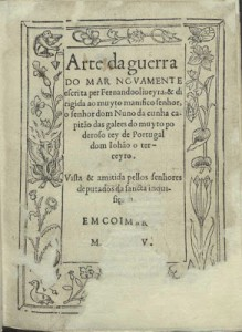 "Frontispiece of the original ""Arte da Guerra do Mar"" (1555), by Fernando de Oliveira."