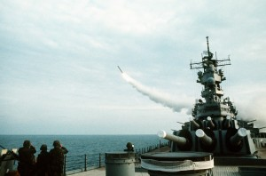 USS WISCONSIN launches a BGM-109 Tomahawk missile against a target in Iraq during Operation Desert Storm.