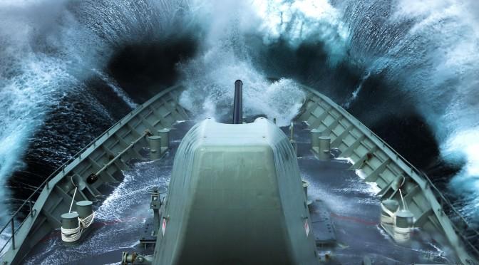 HMAS Arunta in rough seas