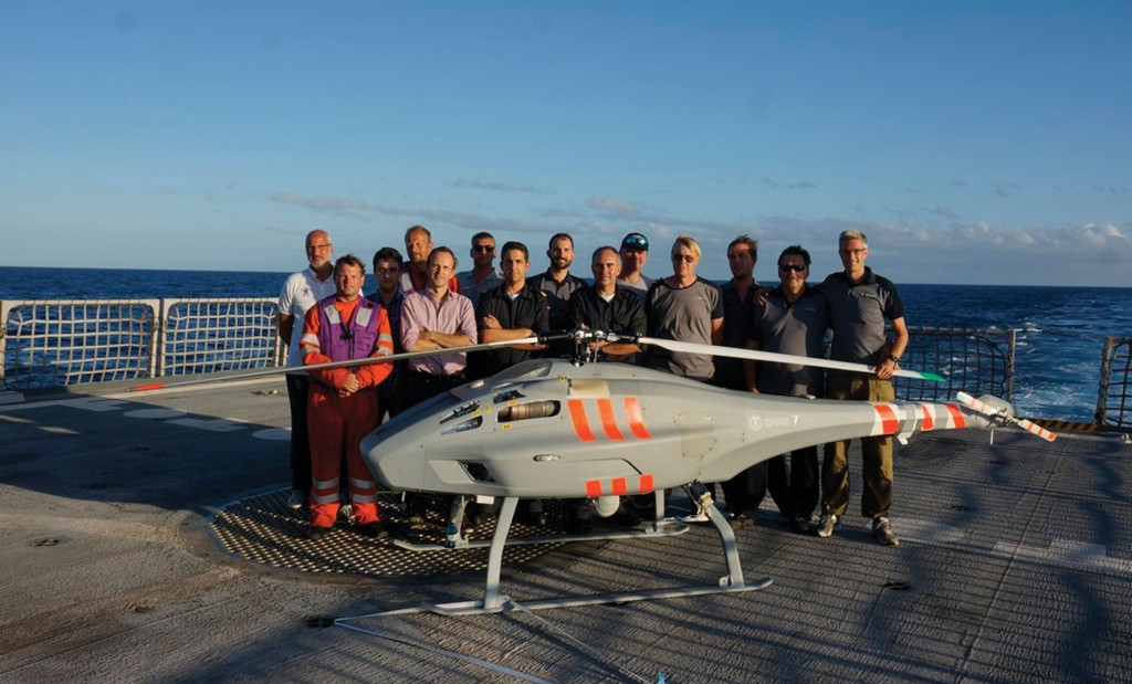Skeldar UAV integration team is board Spanish Navy Offshore Patrol Vessel BAM Relámpago for anti-piracy operations in September 2013. (Photo: Armada Española)