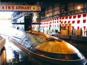 INS Arihant during its launch in 2009.