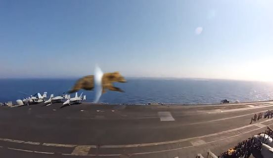 Naughty B3AR5 hits the sound barrier during a unauthorized flyby of the USS GERALD R FORD during sea trials.