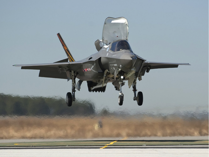 A F-35B hovers during testing.