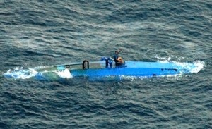 Narco-submarine moments before interception by the U.S. Coast Guard in August 2007.