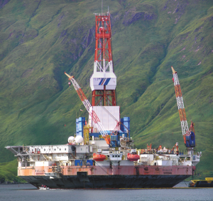 A second drill rig engaged in Beaufort Sea exploration.