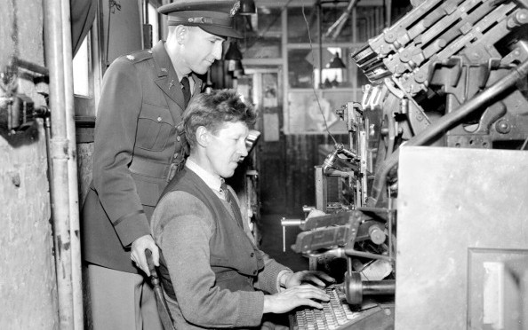 United States Army in Britain preparing Star and Stripes newspaper - April-1942