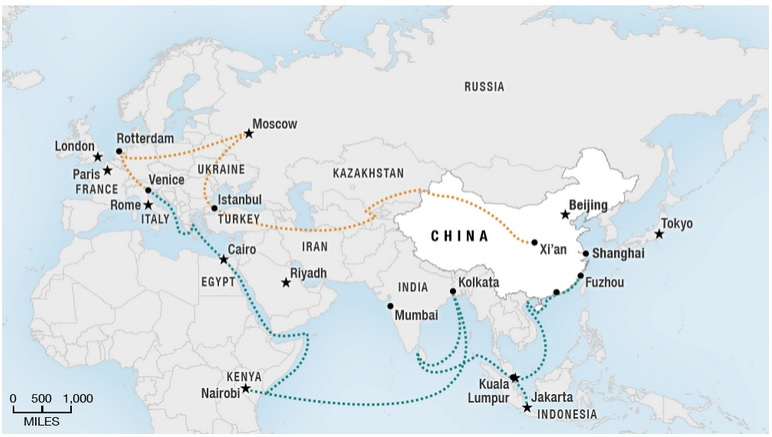 "China's ""New Silk Road"" imitative places EU markets on Beijing's strategic map. Photo: Xinhua."
