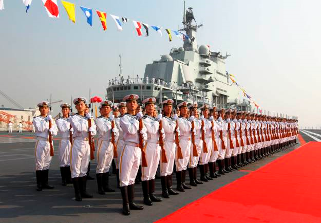 A PLAN honor guard on board the Liaoning in 2012, Xinhua News Agency Photo.