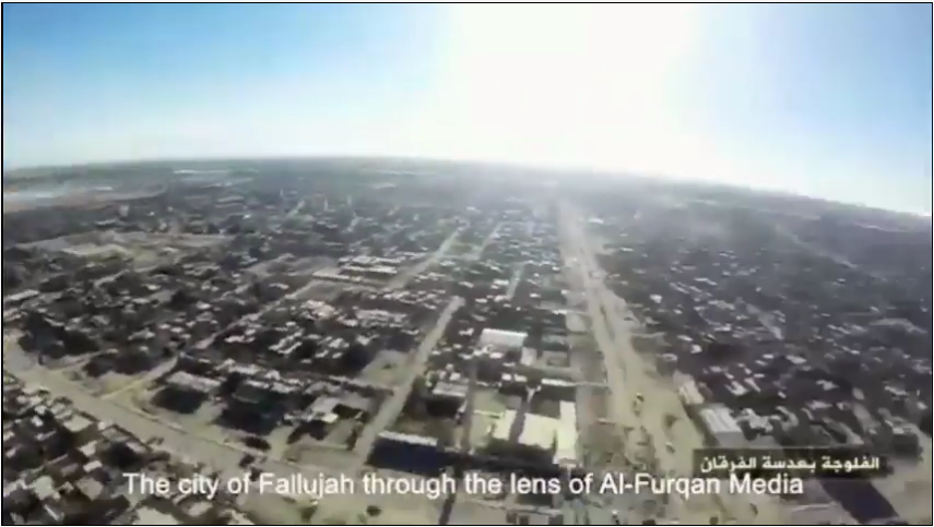 Still captured from an ISIS documentary with footage shot from a UAS over the Iraqi city of Fallujah(nytimes.com)