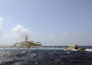 A Coast Guard vessel from St. Kitts participates in a boarding exercise with a U.S. vessel. (Source: USCG Blog)