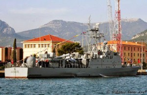 One of Tunisia's Combattante IIIM Class Fast Patrol Boats with MM-40 Exocet missiles. (La Galite 501 pictured)