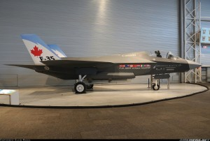 A mock up of he Canadian variant of Lockheed Martin's F-35 Lightning II.
