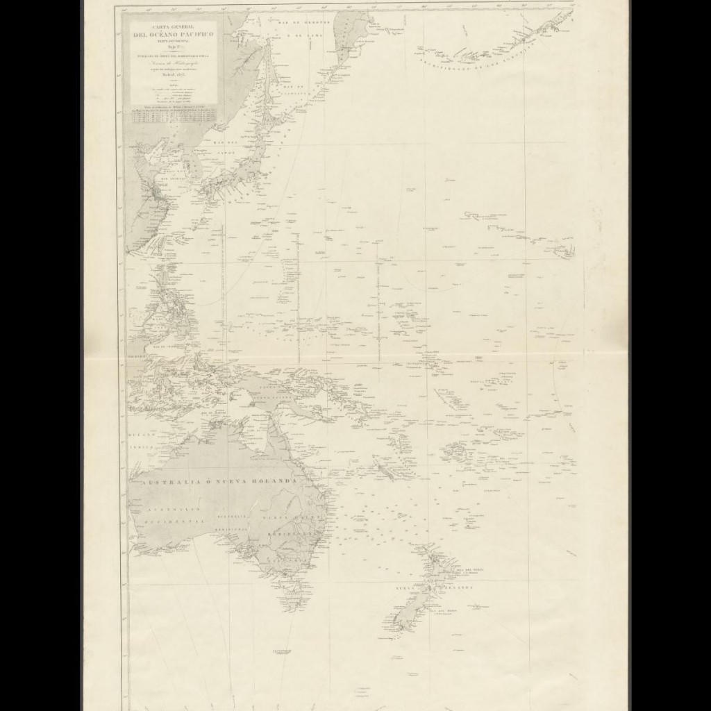 Eastern half of the General Chart of the Pacific Ocean, published in 1897 by the Hydrography Section of the Spanish Navy.