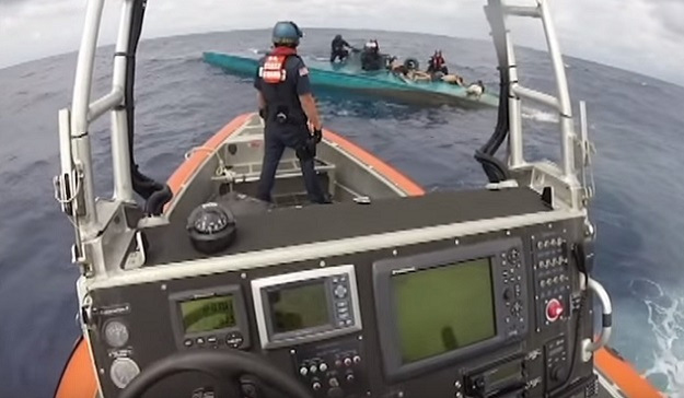 9 July 2015 Seizure of Narco Submarine U.S. Coast Guard Image from Video [FOR PUBLIC RELEASE] U.S. Agencies Stop Semi-Submersible, Seize 12,000 Pounds of Cocaine 94th Airlift Wing, U.S. Coast Guard Pacific Area. DVIDS/DMA, 19 July 2015.