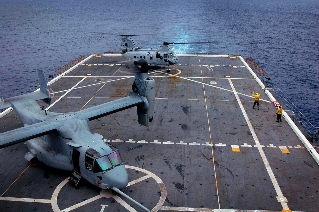 Flight deck loaded with V-22 Ospreys, defenselink.mil photo.