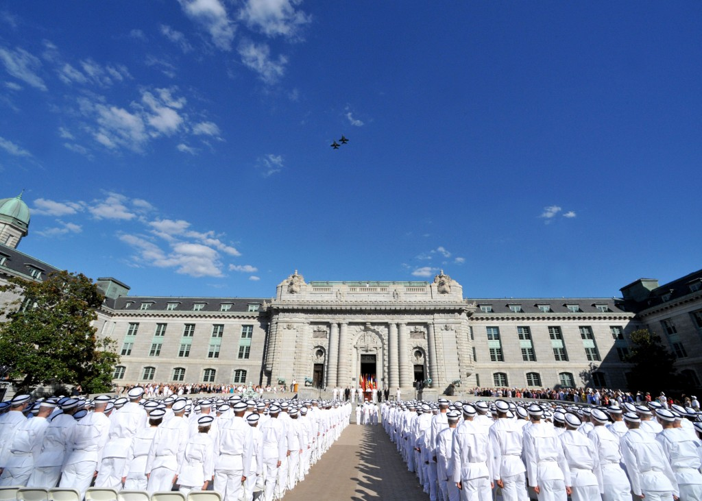 Members of the U.S. Naval Academy Class of 2014 participate in the Oath of Office ceremony at Tecumseh Court. (U.S. Navy photo by David Tucker/Released)