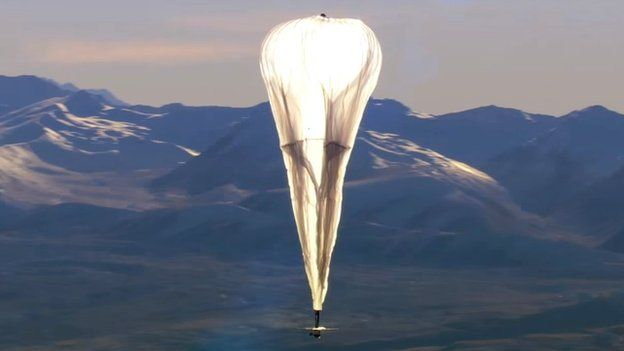 A Google Project Loon internet balloon in flight. Photo credit: Google.