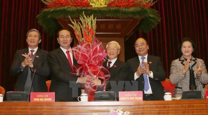 Politburo members. From left to right: Dinh The Quynh, Tran Dai Quang, Nguyen Phu Trong,Nguyen Xuan Phuc, and Nguyen Thi Kim Ngan.