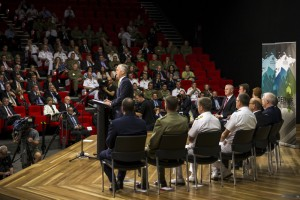 Prime Minister of Australia, the Hon Malcolm Turnbull MP, launches the 2016 Defence White Paper at the Australian Defence Force Academy (ADFA) in Canberra. *** Local Caption *** On 25 February 2016, the Prime Minister, The Hon Malcolm Turnbull, MP, and the Minister for Defence, Senator The Hon Marise Payne released the 2016 Defence White Paper, the Integrated Investment Program and the Defence Industry Policy Statement. Together, these three documents set out the Government's direction to Defence to guide our strategy, capability, and organisational and budget planning.