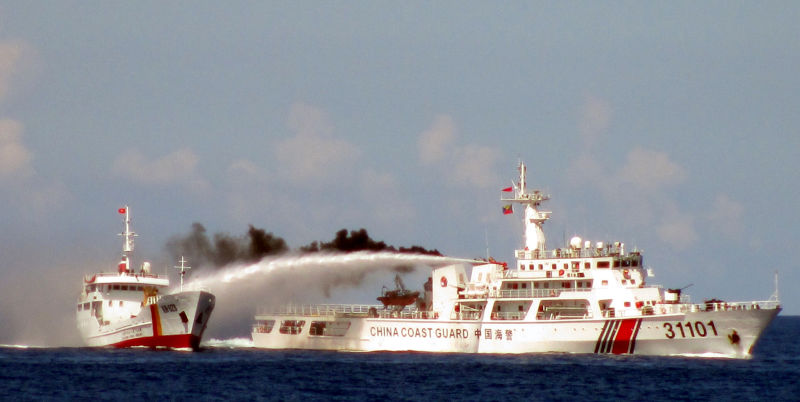 Heated altercation between a Chinese Coast Guard Cutter and a Vietnamese vessel in the South China Sea.