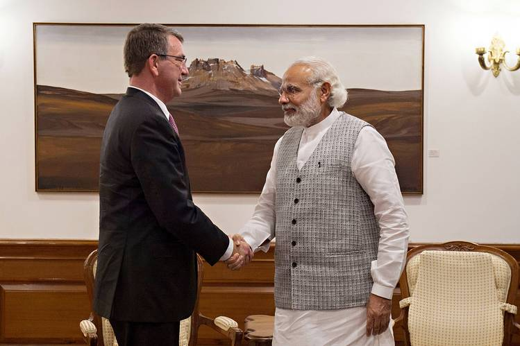 U.S Secretary of Defense Ash Carter meets with Indian Prime Minister Narendra Modi on April 12 in New Dehli, India. Source: Zuma Press.