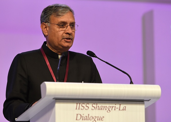 "India Minister of State Defense Rao Inderjit Singh speaks during the plenary session at the 14th Asia Security Summit, the International Institute for Strategic Studies (IISS) Shangri-La Dialogue 2015 in Singapore on May 30, 2015. The United States on May 30 called for an ""immediate and lasting halt"" to reclamation works in disputed waters in the South China Sea, saying Beijing's behaviour in the area was ""out of step"" with international norms. AFP PHOTO / ROSLAN RAHMAN (Photo credit should read ROSLAN RAHMAN/AFP/Getty Images)"