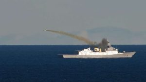 A Naval Strike Missile (NSM) anti-ship missile is launched from HNoMS Roald Amundsen (Picture: Royal Norwegian Navy)