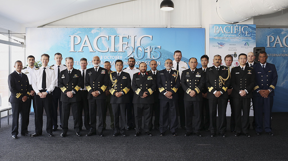 Delegates pose for a photograph before the Indian Ocean Naval Symposium (IONS) Conclave of Chiefs. The regional forum was held during Sea Power 2015.