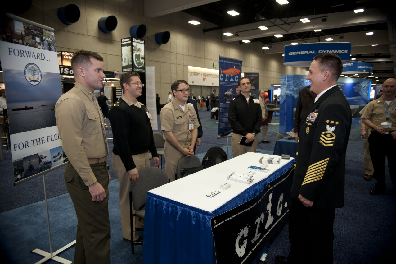 SAN DIEGO (Feb. 10, 2015) Master Chief Petty Officer of the Navy (MCPON) Mike Stevens visits service members with the CNO's Rapid Innovation Cell (CRIC) during the Western Conference and Exposition (WEST) 2015. U.S. Navy photo by Mass Communication Specialist 1st Class Martin L. Carey.