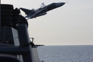 BALTIC SEA - A Russian Sukhoi Su-24 attack aircraft makes a very-low altitude pass by the USS Donald Cook (DDG 75) April 12, 2016. Donald Cook, an Arleigh Burke-class guided-missile destroyer, forward deployed to Rota, Spain is conducting a routine patrol in the U.S. 6th Fleet area of operations in support of U.S. national security interests in Europe. (U.S. Navy photo/Released) BALTIC