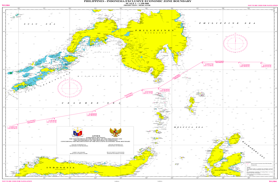 EEZ demarcation between the Philippines and Indonesia. The PH-RI EEZ Boundary is defined by geodetic lines connecting eight points. These points are indicated in geographical coordinates that form a single line as illustrated in the chart shown below. The total length of the line is 627.51 nautical miles or 1,162.2 kilometers from points 1 to 8.