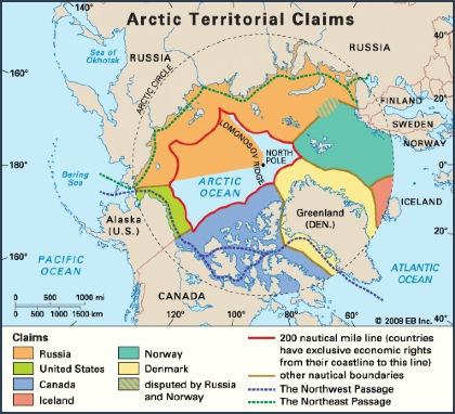A map of overlapping territorial claims in the Arctic. (Encyclopedia Britannica Inc)