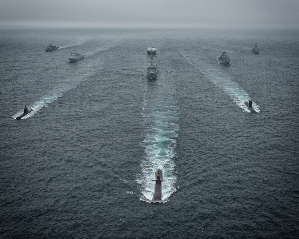 Exercise DYNAMIC MONGOOSE - All participants ships in formation - 27 JUN 2016 - Photo by WO C. ARTIGUES (HQ MARCOM PHOTOGRAPHER)