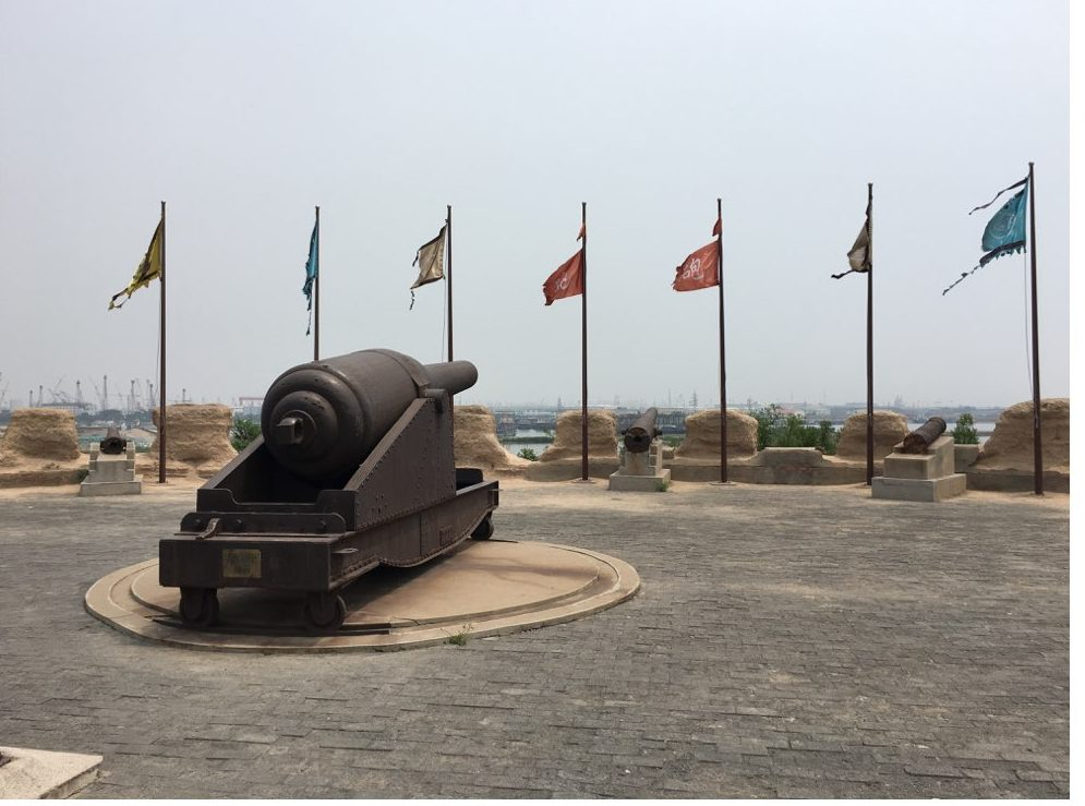 "The Dagu Fort Memorial, Tianjin China (大沽口炮台纪念馆, 天津). It was built and modernized in the late nineteenth century in an effort to resist foreign amphibious attacks on Beijing. A sign helpfully notes that the memorial, ""makes clear to subsequent generations: those who lag behind will be bullied, it is only through strength and prosperity that peace can be achieved."" 昭示后人:落后就要挨打,强盛才有安宁. (Author Photo)"