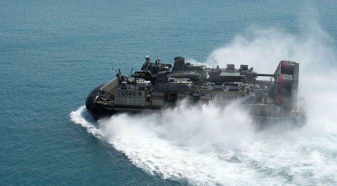LCAC_approaches_USS_Bonhomme_Richard_at_White_Beach,_Japan._(9950701406)