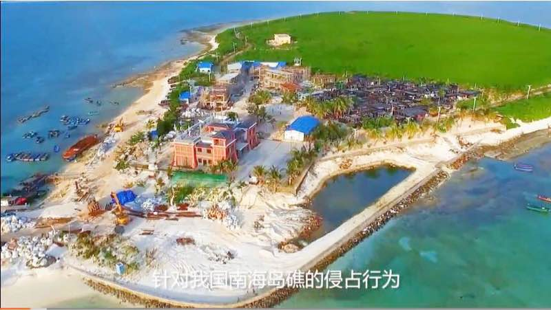 Recent Image of Tree Island and construction of its militia outpost (large red building) and pier. Image source: Chinese Internet Bulletin Board System (BBS)