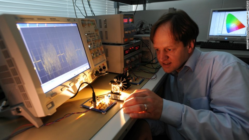 German physicist Harald Haas with LiFi device. (Harald Haas/University of Edinburgh)