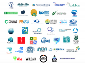 A graphic collection of maritime NGOs. The ones depicted here are amongst 40+ that joined together 2015 to campaign against plastics in the ocean. Credit: Future 500